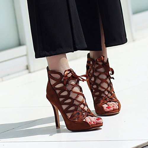 Mee Shoes Women's Fashion Zip High Heel Stiletto Summer Boots Brown DPPBYGBK