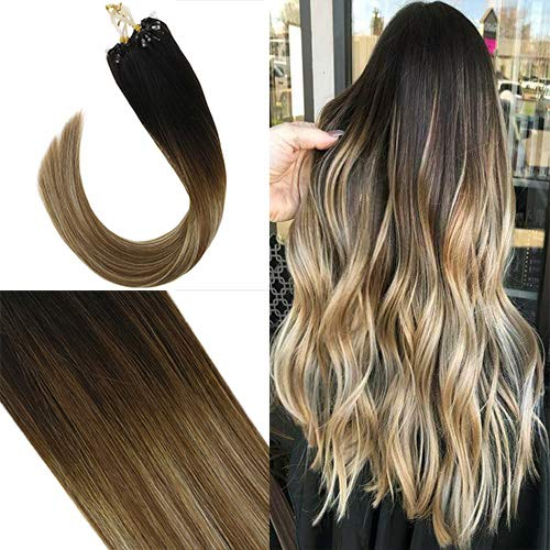Youngsee 18inch Micro Ring Hair Extensions Human Hair Ombre Balayage Darkest Brown to Chestnut Medium Brown Mixed Light Gloden Blonde Micro Link Loop Hair Extensions 1g/50g