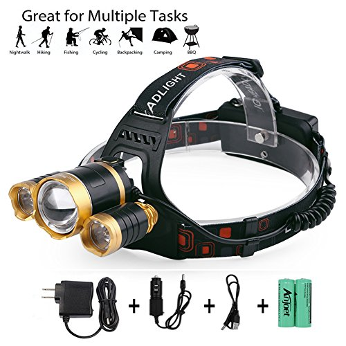 LED Super Bright Flashlight with 4 Modes,3000 Lumens Waterproof Headlamp,Adjustable Flashlight for Camping Hunting Hiking Running Walking Bicycling Outdoors Headlight by BLSTECH