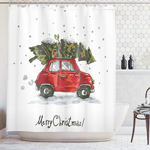 - Ambesonne Christmas Shower Curtain, Red Retro Style Car Xmas Tree Vintage Family Style Illustration Snowy Winter Art, Fabric Bathroom Decor Set with Hooks, 70 Inches, Red Green