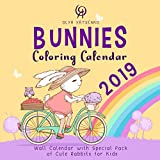 Bunnies Coloring Calendar 2019: Wall Calendar with Special Pack of Cute Rabbits for Kids