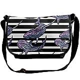 Abstract Whale Stripe Pattern Women's Messenger Bag One Shoulder Bags Fashion Travel Handbags