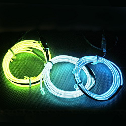 Sound Of Music Dance Costumes (ESUMIC&5FT/1.5M Sound Activated Neon Glowing Strobing Electroluminescent Wire Sound Activated EL Wire for Party Dance Car Decor Halloween Decoration ... (Blue green aqua))
