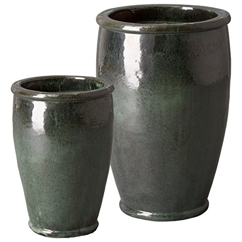 Round Ceramic Planters - Green Kelp (set of 2) by Emissary