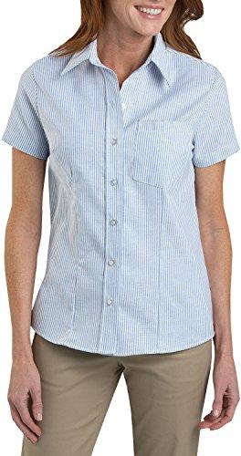 Shirt Sleeve Short Oxford Dickies - Dickies Women's Short Sleeve Stretch Oxford Shirt, White, Blue Stripe, M