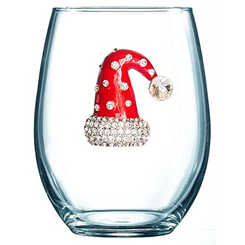 THE QUEENS' JEWELS Christmas Hat Jeweled Stemless Wine Glass - Unique Gift for Women, Birthday, Cute, Fun, Holiday, Not Painted, Decorated, Bling, Bedazzled, Rhinestone (Jewel Box Wine)