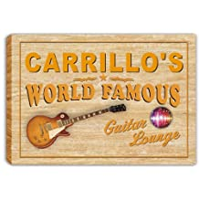 scpf1-1675 CARRILLO'S World Famous Guitar Lounge Stretched Canvas Print Sign