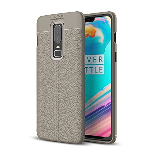 OnePlus 6 Case, Ultra Slim Leather Designed Soft OnePlus 6 Phone Case Dirtproof Anti-Falling for OnePlus 6 (Gray) ()