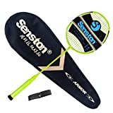 Senston N80-YT Jointless Badminton Racket Single High-Grade Badminton Racquet Carbon Fiber Badminton Racket Yellow with Racket Cover and Overgrip For Sale