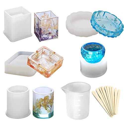 (Epoxy Resin Silicone Molds, Large Art Resin Molds for Coaster/Ashtray/Flower Pot/Pen Candle Soap Jewelry Holder, Includes Round/Square Ashtray, Cylinder, Cube, Bowl, Mixing Cup and Wood Sticks)