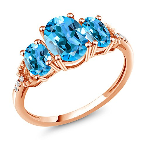 Ring Blue Diamond Accent (2.34 Ct Oval Swiss Blue Topaz 10K Rose Gold Diamond Accent Ring)