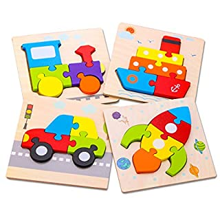 SKYFIELD Wooden Toddler Puzzles, Gift Toys for 1 2 3 Years Old Boys &Girls, Baby Educational Toys with 4 Vehicle Patterns, Bright Vibrant Color Shapes, Customized Gift BoxReady (Vehicle)