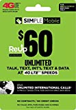 Simple Mobile $60 Truly Unlimited Plan Service Card