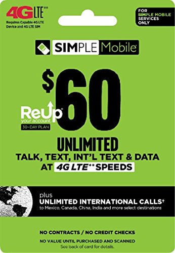 Simple Mobile $60 Truly Unlimited Plan Service Card by Simple Mobile