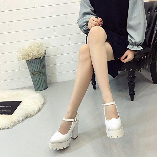SHOESHAOGE Chaussures Femmes De Printemps Un Mot Grossier De Boucle À Fond Épais Chaussures De Talon Hauts Talons Femme Imperméable Taiwan Couleur unie 2CqfC