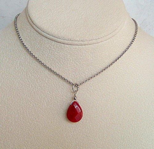 Reddish Purple Wine Teardrop Quartz Pendant 18 to 20 Inch Stainless Steel Necklace Gift Idea
