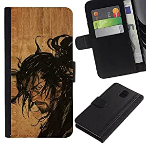 All Phone Most Case / Oferta Especial Cáscara Funda de cuero Monedero Cubierta de proteccion Caso / Wallet Case for Samsung Galaxy Note 3 III // Samurai Japanese Warrior