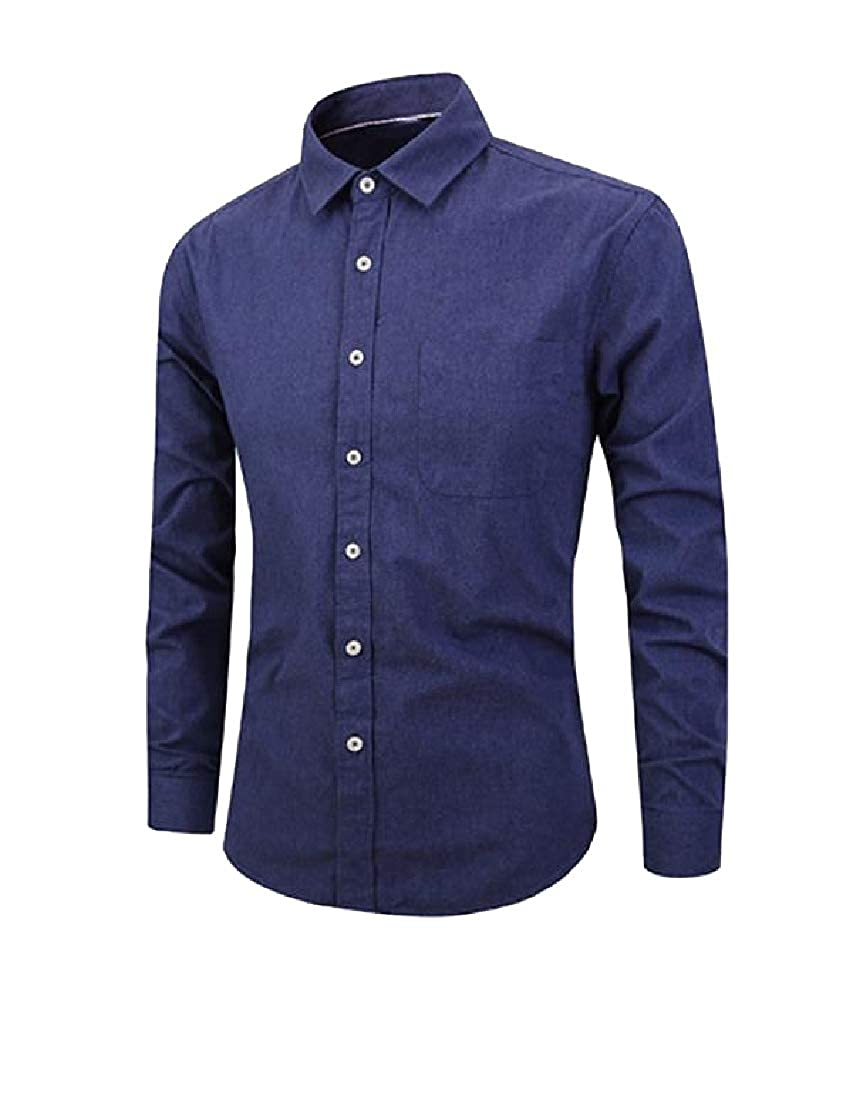 Andopa Mens Solid Colored Brushed Casual Loose Long-Sleeve Woven Shirt