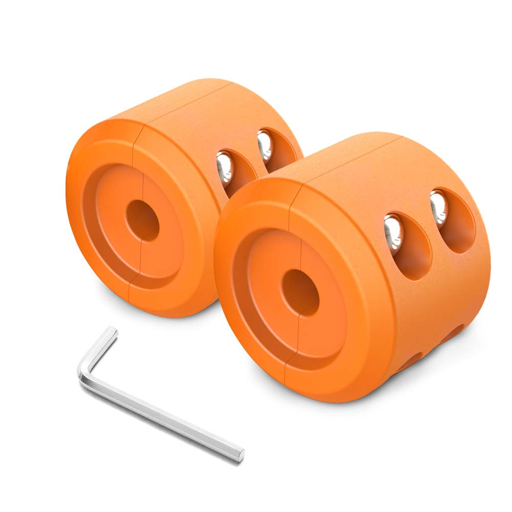 MNJ Motor 2Pcs Winch Cable Hook Stopper - Waterproof Durable Rubber Winch Rope Line Saver with Allen Wrench for ATV UTV Winches - Prevent Pulling, Eliminate Abrasion, Bouncing (Orange)