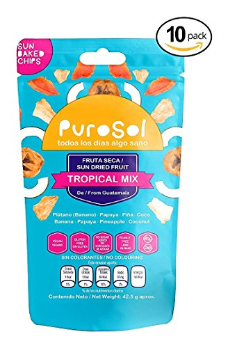 Tropical Mix Sun Dried Fruit Snacks | PuroSol Dried Fruit Tropical Mix (Pack of 10) | No Sugar Added, Tropical Fruit Snacks, Gluten Free, Vegan | 1.5oz Healthy Snack Bags by PuroSol Snacks