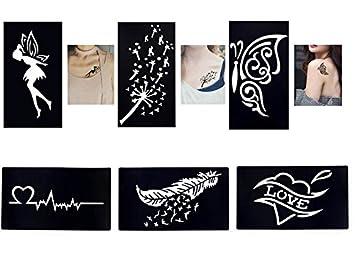 Tattoo Schablonenvorlagen 6 Kleine Sheet Set Mini 2 Für Henna