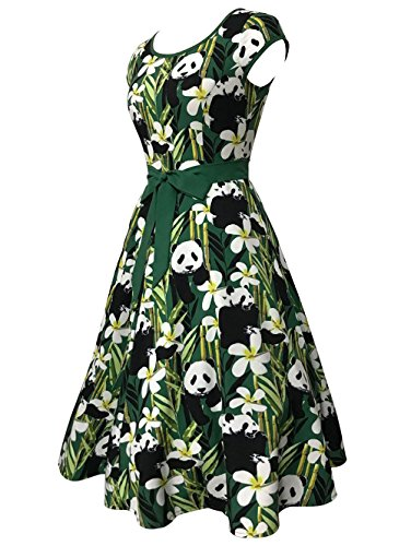 Sleeve Vintage Bamboo Print Dress With Panda Swing Belt Green CharMma Cap Women's 4w5nAqxXtF