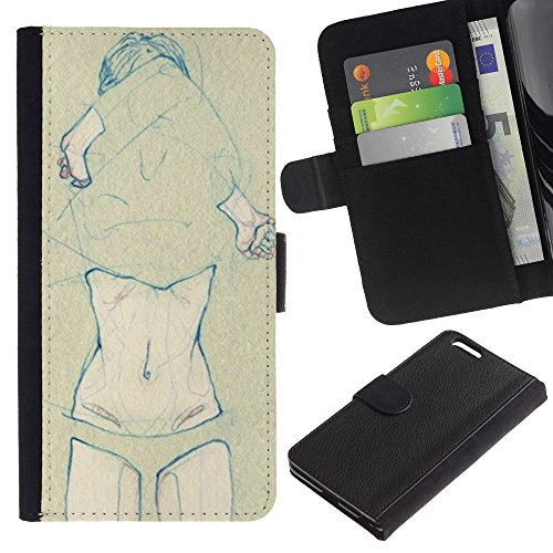 Planetar® Colorful Pattern Flip Wallet Leather Holster Protective Skin Case Cover For Apple (5.5 inches!!!) iPhone 6+ Plus ( Belly Body Girl Nude Knickers Naked Art Drawing )