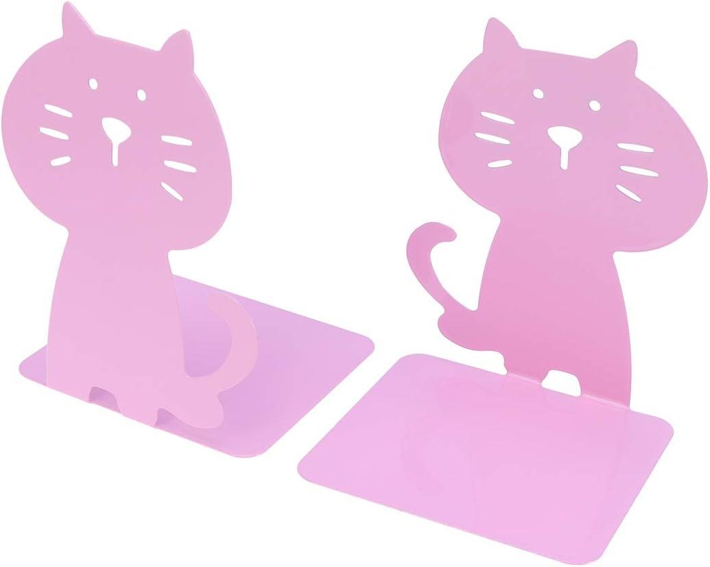 VOSAREA 1 par de estantes para Libros de Gato Rosa Estante de Libros Sujetalibros de Dibujos Animados Soportes creativos Organizador de Libros Papelería Accesorio para Oficina