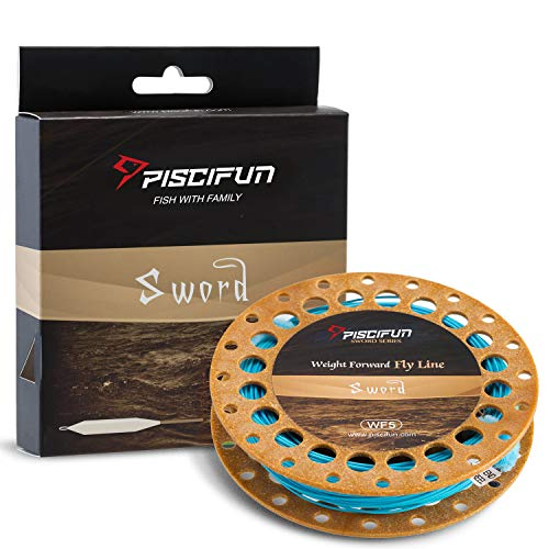 Piscifun Sword Weight Forward Floating Fly Fishing Line with Welded Loop WF5wt 100FT Sky Blue (Best Fishing Line For Trout Fishing)