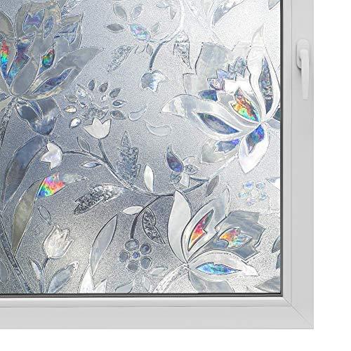 3D Window Film No Glue Privacy for Glass Sticker Static Cling Heat Control Anti UV Non-Adhesive Decorative Tulip 35.4 Inch x 6.5 Feet