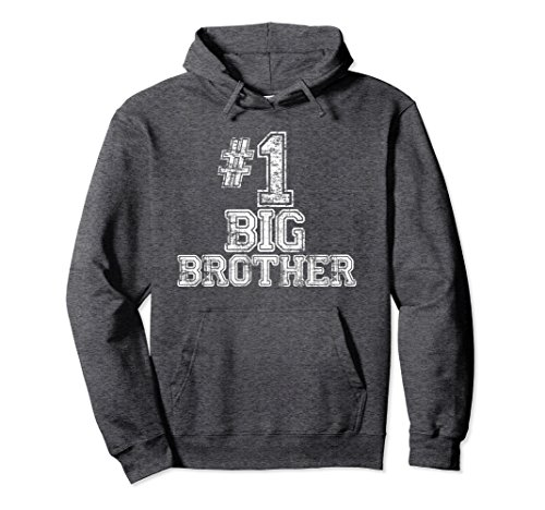 Unisex #1 Big Brother Hoodie - Number One Jersey Style Sweatshirt Medium Dark (Big Brother Hooded Sweatshirt)