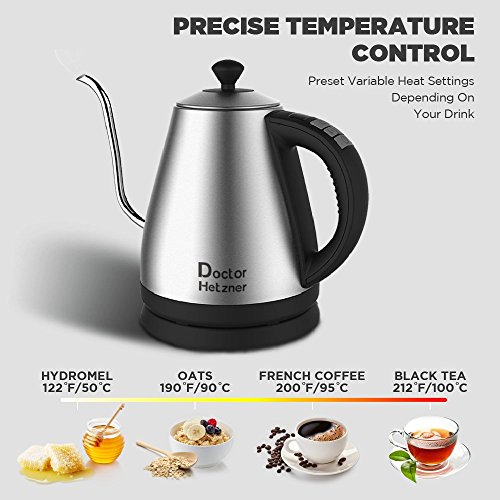 electric gooseneck kettle with preset variable heat settings for drip coffee and tea quick boil stainless steel with lcd display auto shutoff