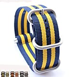 Zhuolei Waterproof and Sweatproof 5-Ring Double-color Nylon Strap 18/20/22/24mm Orange+green Yellow+blue Black+white (20, Yellow+blue)