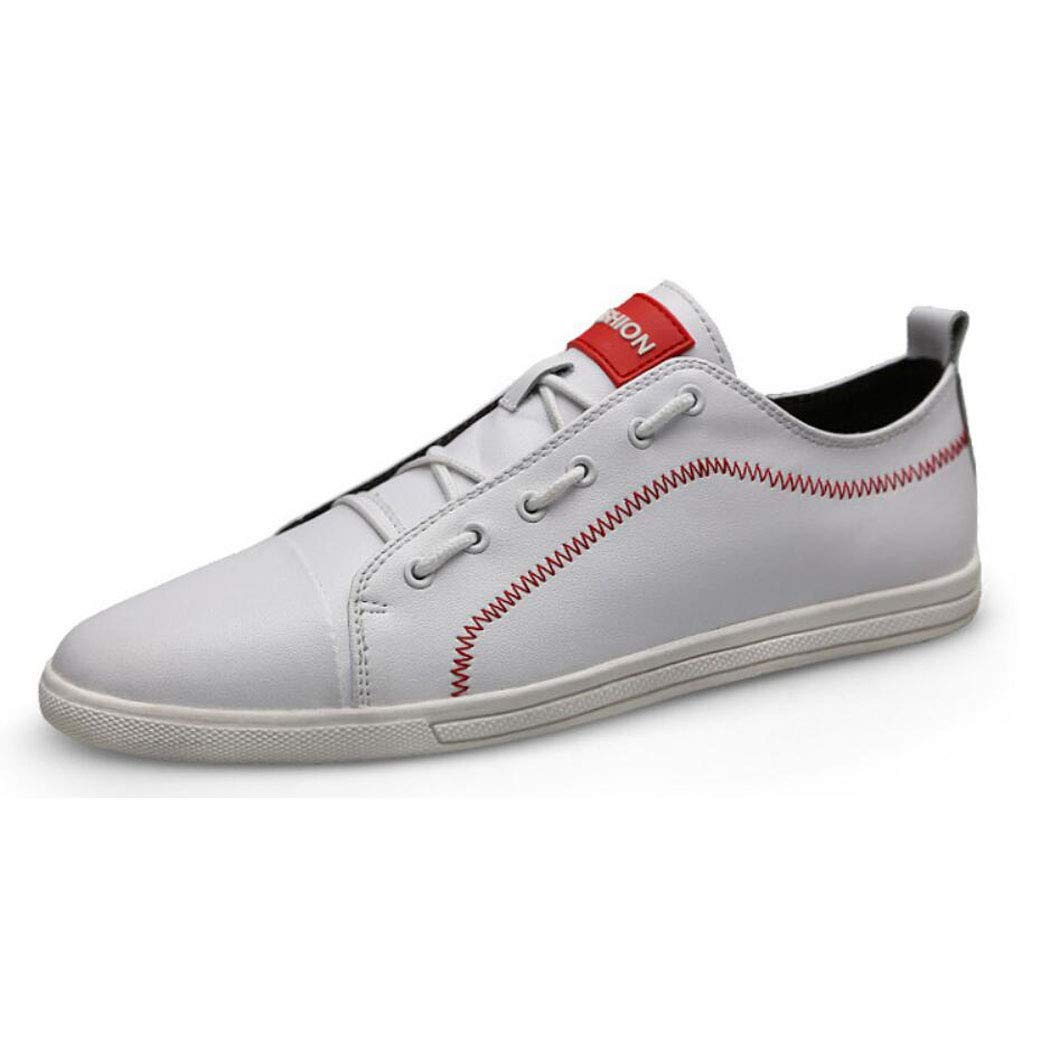 White Men's White Leather Casual Lace-Up shoes, Classic Low Top Loafer, Fashion Sneaker