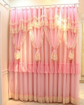 FADFAY Romantic Pink Lace Girls Princess Bedroom Curtains Elegant Korean Ruffled Window For