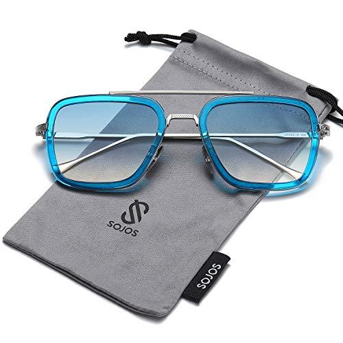 SOJOS Retro Aviator Square Sunglasses for Men Women Goggle Classic Alloy Frame Gradient Flat Lens HERO SJ1126 with Silver Frame/Blue Rim/Gradient Blue ()