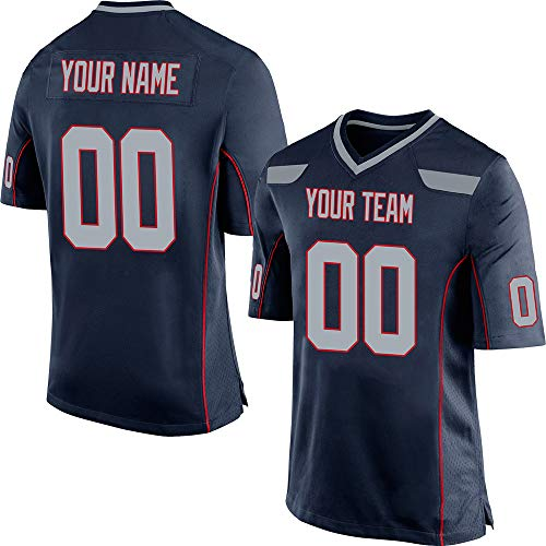 Custom Men's Navy Mesh Football Jersey Design Online Stitched Team Name and Your Numbers,Gray-Red Size 2XL