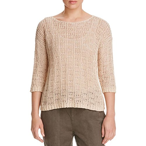 Eileen Fisher Womens Bateau Neck Knit Casual Top Tan M by Eileen Fisher