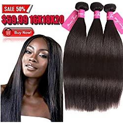 (16 18 20inches, Natural Color) Brazilian Hair Beauty Youth Brazilian Straight Virgin Hair 3 Bundles/Lot Bundles of Brazilian Hair 95-100g/pc