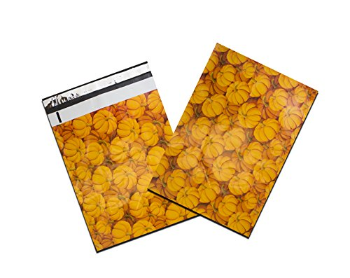 "Wholesale 10"" x 13"" Designer Prints Flat Poly Mailers -USPS Approved Business Poly Envelopes (100 Lot, Halloween Pumpkin) for cheap"