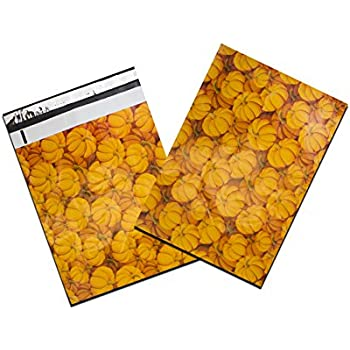 "10"" x 13"" Designer Prints Flat Poly Mailers -USPS Approved Business Poly Envelopes (50 Lot, Halloween Pumpkin)"