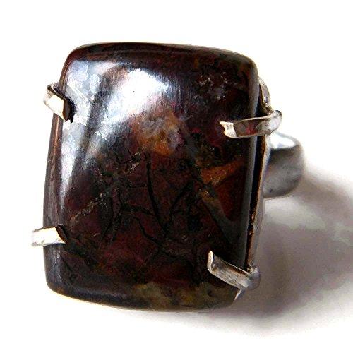 Dragon Blood Jasper Ring Silver Plated Ring Handmade Designer Ring Jewelry Adjustable Ring (Ring Size 9 USA) AH-6698 ()