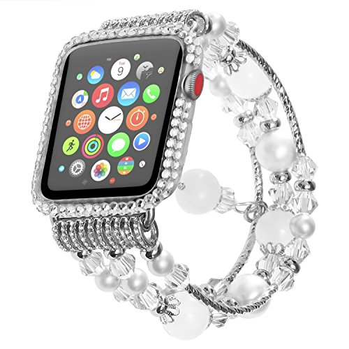 Handmade Elastic Luxury Crystal Beaded Bracelet Strap Band for Apple Watch,Replacement iWatch Strap Band for Apple Watch 42mm Series 2 (2016) Series 1 (2015) All Models - Clear Band Watch