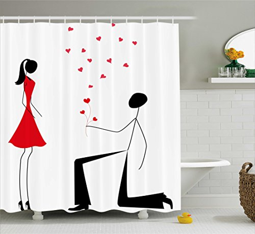 Ambesonne Engagement Party Decorations Shower Curtain, Modern Minimalist Design Couple with Heart Flowers, Fabric Bathroom Decor Set with Hooks, 75 inches Long, Black White and Red