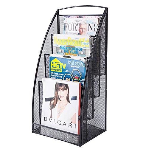 4 Tier Large Metal Mesh Wire Office File Organizer, Magazine Display Rack, - Display Newspaper Rack