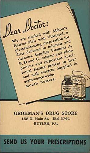 Vintage Advertising Postcard: Grohman's Drug Store Butler, Pennsylvania from CardCow Vintage Postcards