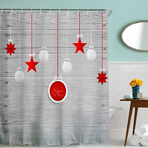 Grey and Red Christmas Decor Shower Curtain Fabric,Vintage Gray Backdrop Holiday Christmas Ornament Star Balls Decorative Bath Curtain,Polyester Waterproof Bathroom Decor Set with Hooks,72x72 Inch
