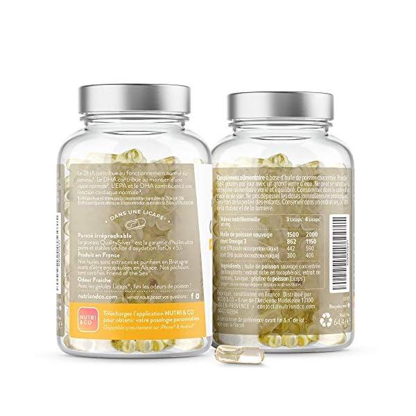 Omega 3 Huile de Poissons Sauvages 2000mg | Fish Oil Concentrée Ultra Pure | 120 Gélules | EPA DHA et Vitamine E…