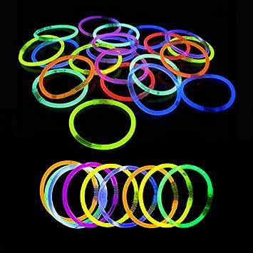 Pulseras Luminosas - 200 Unidades (Variado) - Pulseras Luminosas de la Máxima Calidad - Pulseras Fluorescentes - Varitas Luminosas: Amazon.es: Juguetes y juegos