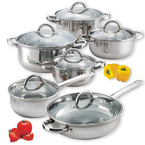 Cook N Home NC-00250 12-Piece Stainless Steel Cookware Set, Silver (Renewed)